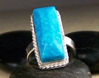 Kingman Turquoise Silver Ring Size 7 Dinner Ring Free US Shipping  Ready to Ship