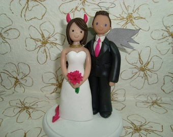 Cake Topper Customized Devil Bride & Angel Groom Wedding