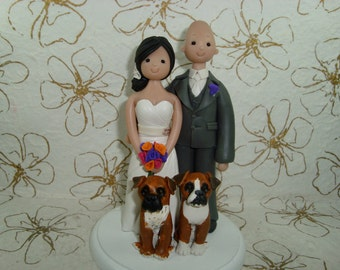 Bride & Groom with Pets Customized Wedding Cake Topper