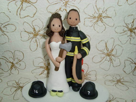 Cake Topper - Customized Firefighters Wedding