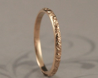 Gold Wedding Band--Solid 14K Yellow Gold Rococo in the Disco Wedding Band--Solid 14K Gold Swirl Patterned Ring Custom made in YOUR Size