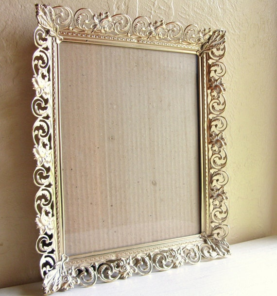 vintage gold and white filigree picture frame with glass 8x10