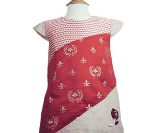 Toddler Summer Dress in cranberry red and Fleur-de-Lys brocade First Birthday Girl or Flower girl