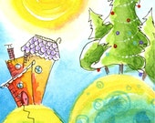 Whimsical Holiday Colorful Greeting Card Hand Painted