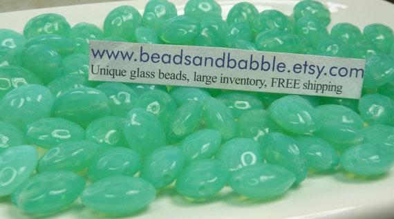 11x9mm Seafoam Opal Filigree Czech Oval Glass Beads - Qty 20 (B412)