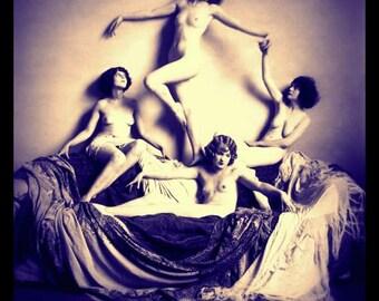 Nude Foursome circa 1920- Enhanced Giclee Fine Art Print of Vintage Photograph - Vintage Nudes - Nude Wall Art