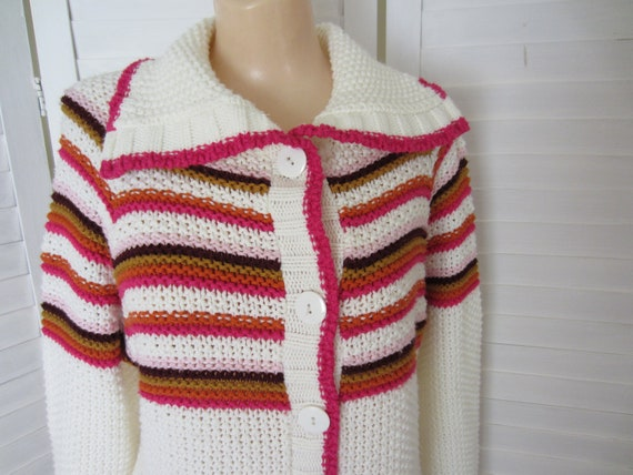 Cardigan Sweater, Off White with Pink, Orange, Gold Stripes - Size L