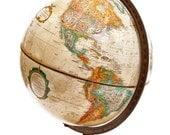 Vintage Replogle Globe- Brown, tan, old style map