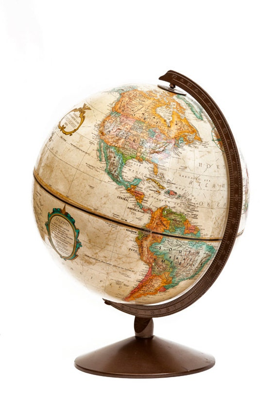Vintage Replogle Globe- Brown, tan, old style map