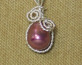 Pearlescent Pink FRESHWATER PEARL Sterling Silver Plate Wire Wrap Necklace Pendant