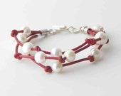 Red Leather Pearl Bracelet. Freshwater Pearls, White Pearl, Multistrand, Flower Charm, Sterling Silver Toggle
