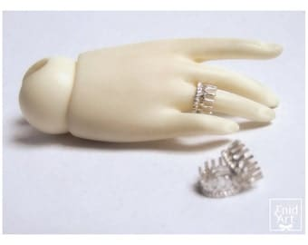 Sterling silver BJD ring with the shape of a crown -in stock -