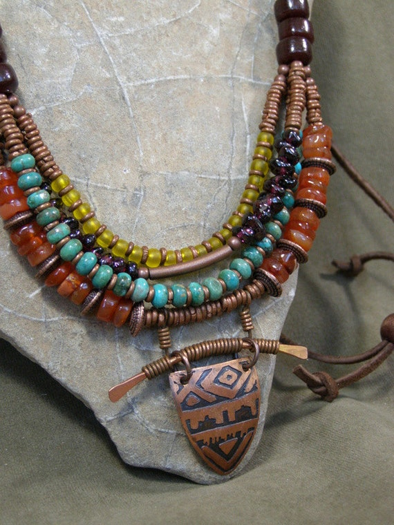 Bohemian Necklace Turquoise Necklace Statement Necklace