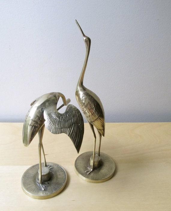 brass storks, pair of heron, birds of good fortune