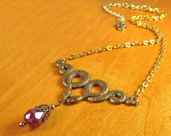 Snake Jewelry Snake Necklace with Blood Red Drop