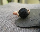 Black Lava Stone Ring, Gold Tone, Copper