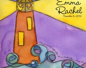 To the Lighthouse - watercolor personalized name print