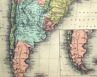 1880 Antique Map of South America - Antique South America Map - Handcolored - Large Rare Map - South America Antique Map