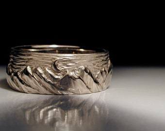 Hand carved and cast mountain wedding ring, or wedding band.