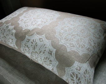 White Lace Medallion on Warm Gray cottage chic home decor decorative hand block printed linen pillow case