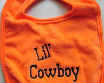 Embroidered Bib - Lil' Cowboy- ORANGE