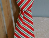 Striped Christmas Toddler Boys Tie with velcro band size 18 months-3 years Red green and White stripe