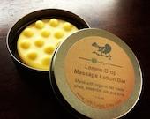Lemon Drop Massage Lotion Bar with Organic Fair Trade Shea Butter /// Essential Oils of Jasmine, Grapefruit and Lemongrass