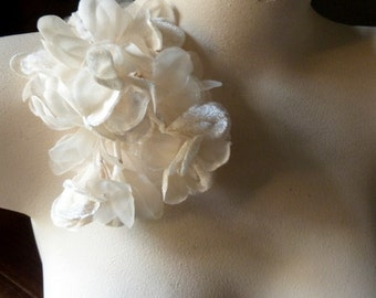 Ivory Velvet and Organza Flowers for Bridal, Boutonnieres, Headbands, Hats, Sashes, Corsages. MF33