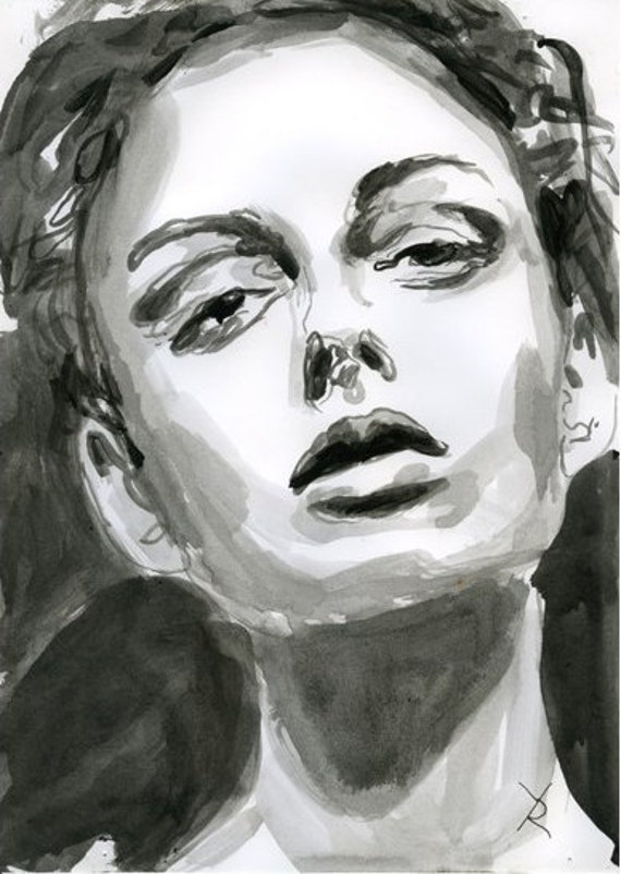 acrylic face painting portrait watercolor poster