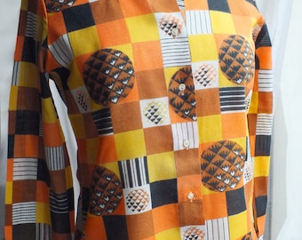 French 70s orange black geometric shirt, Abstract print shirt, Women fashion retro clothing, Retro geometric shirt, Halloween shirt