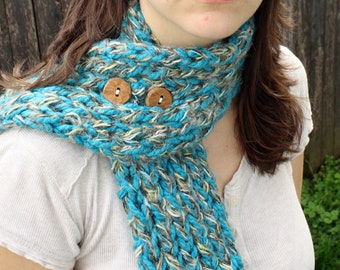 Electric Blue Button Scarf Blue and Gold Neckwarmer with Wooden Buttons Womens Scarf READY to SHIP