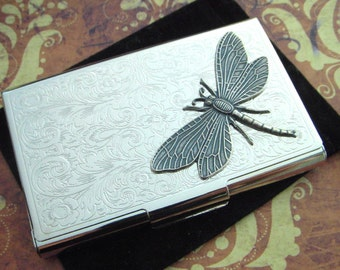 Silver Dragonfly Business Card Case Gothic Victorian Scroll Pattern Card Holder Vintage Inspired
