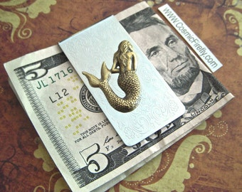 Mermaid Money Clip Vintage Inspired Style Metal Silver & Brass Gothic Victorian Nautical Steampunk Pirate Accessories Gifts For Men