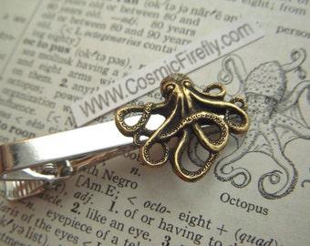 Brass Octopus Tie Clip Men's Tie Clip Steampunk Tie Clip Gothic Victorian Men's Accessories Men's Gifts