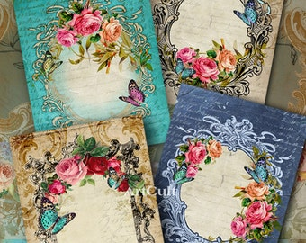 2.5x3.5 inch size images ROSES AND BUTTERFLIES Digital Collage Sheet Gift Tags Jewelry Holders Printable Vintage Victorian paper ArtCult