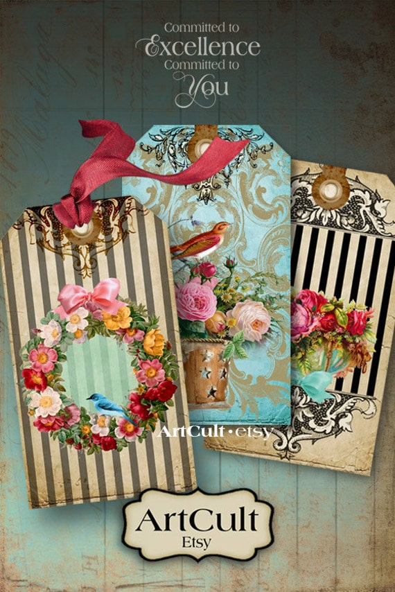 Printable Download SPLENDOR GIFT TAGS Digital Collage Sheet Vintage Victorian Images Paper Craft Scrapbooking Jewelry Holders Artcult