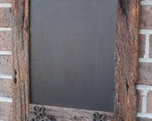 Oak Reclaimed Barn Wood Chalkboard with 2 Double Hooks Perfect for Your Home, Office, or Wedding