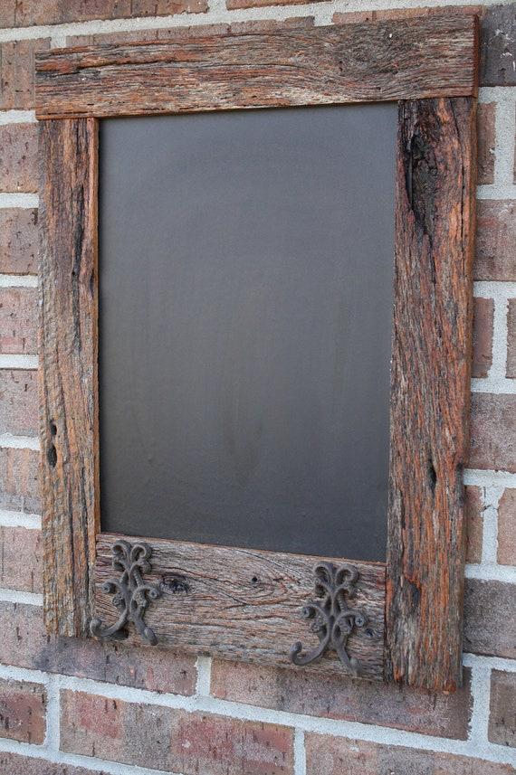 Oak reclaimed barn wood chalkboard with double hooks perfect
