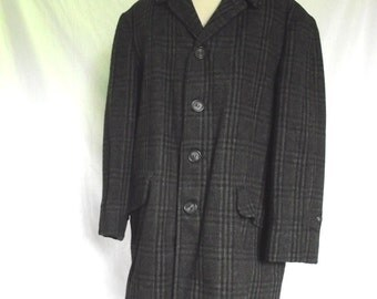70s Mens Jacket McGregor Car Coat Vintage Gray Plaid  Winter Jacket Sz 40