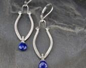 Lapis lazuli earrings, blue lapis earrings, oxidized sterling silver, handmade wire wrapped jewelry, long dangle earrings - Lapis Amphora
