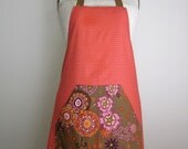 Brown Floral and Red Diamond Full Apron