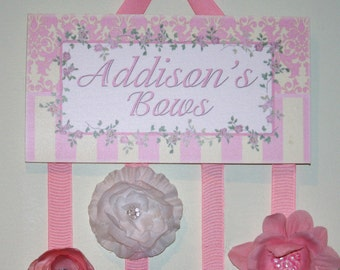 HAIR BOW HOLDER - Personalized Shabby Chic Floral HairBow Holder - Bows Clippies Organizer - Girls Personal Hair Bow and Clip Hanger Hb0116