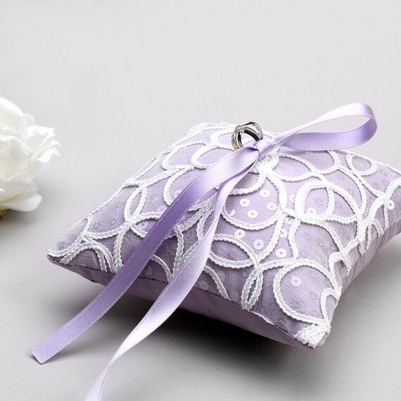 Lavender lace ring pillow, wedding lace pillow, ring pillow wedding, silk pillow - Cloudy
