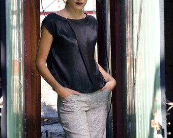 Black Silk Top, Satin Asymmetric Blouse, Available in Plus sizes and Many Colors, Silver Blouse, White Top