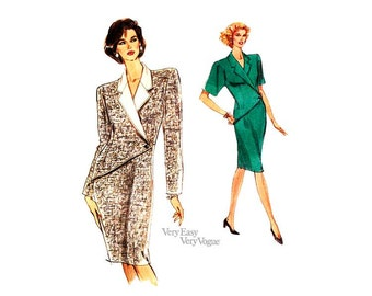 Fitted Dress Pattern Very Easy Vogue 7855, Tapered Dress with Notched Collar Two Sleeve Lengths Sizes 6 8 10 Uncut FF