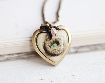 Heart locket necklace - Bird Nest necklace - Heart Necklace - Locket pendant - Vintage locket - Photo locket - Mother Necklace (L013)