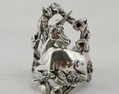 Magical Unicorn Fantasy Jewelry Ring in Sterling Silver