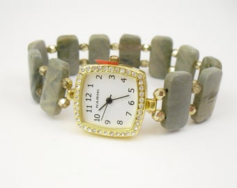 Beaded Stretchy Bracelet Watch - Silver Mist Jasper and Metallic Gold Czech Glass