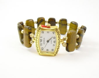 Beaded Stretchy Bracelet Watch - Tiger Eye and Metallic Gold Crystal Glass
