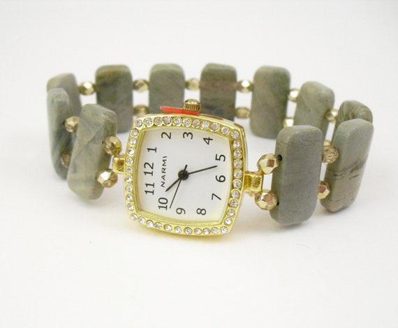 Beaded Stretchy Bracelet Watch - Silver Mist Jasper and Metallic Gold Czech Glass